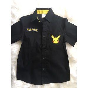 Boys Pokémon button down collard shirt size XS